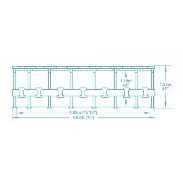 Piscina Fuori Terra Bestway 5612Z Steel Pro Max Rotonda 488x122cm